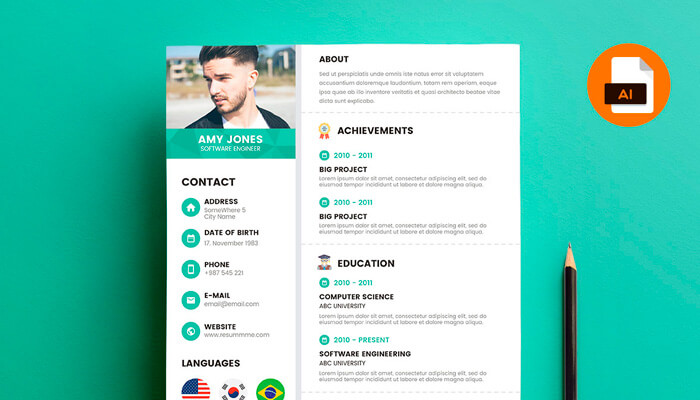 12 Green Accent Resume Template