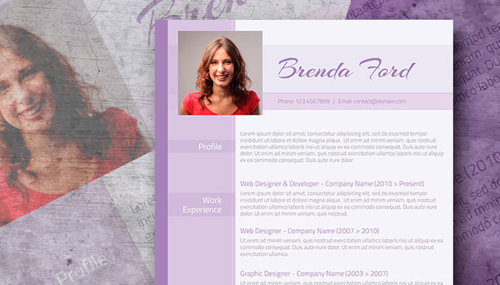 14 Free Purple Themed CV Template Word