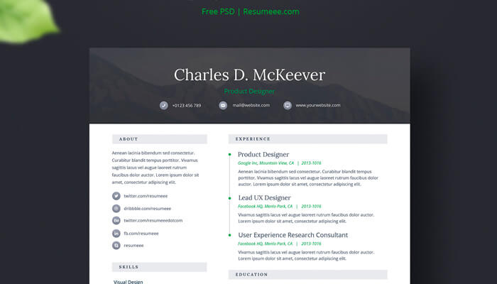 14 Onepage Free CV - Resume Template