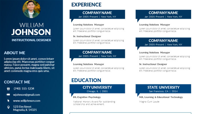 14 Visual Resume Template Powerpoint