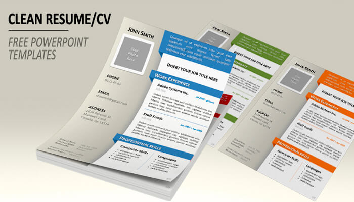2 Free Clean Resume Powerpoint