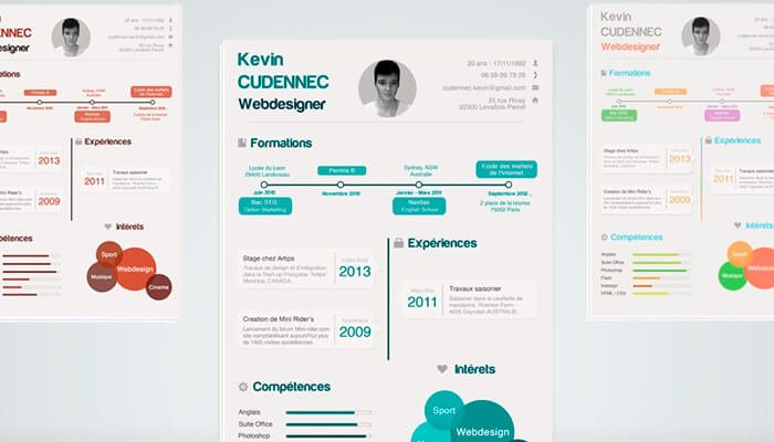 3 Infographic Resume PSD