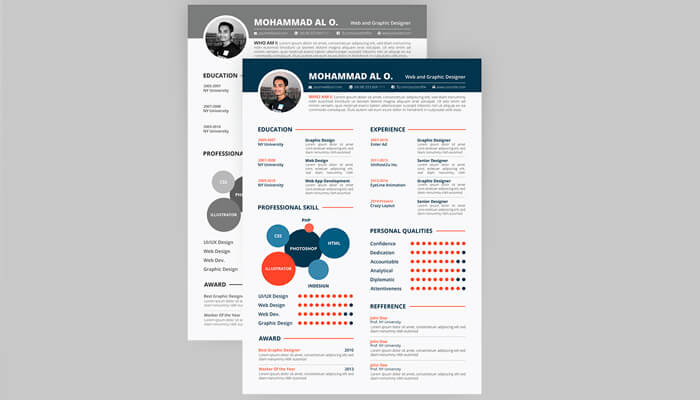 7 Free Resume Template - 2 Colors