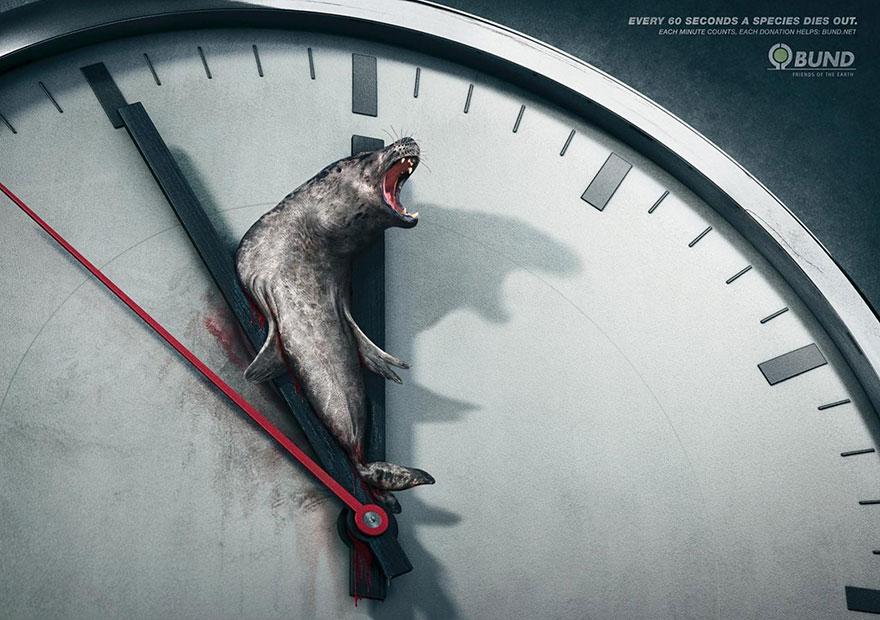 Anuncios sobre problemas sociales animales mueren