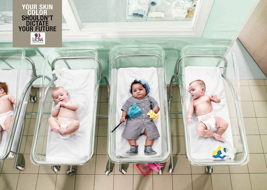 Anuncios sobre problemas sociales color de piel