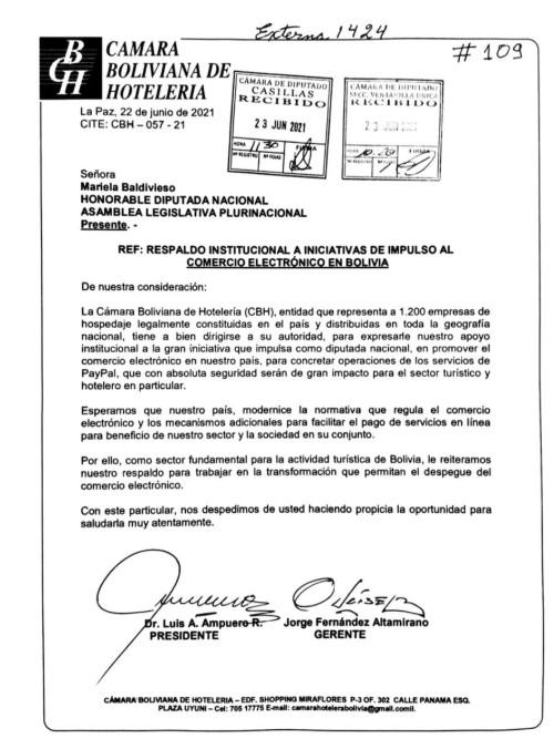Apoyo PayPal Bolivia Camara de Hoteleria