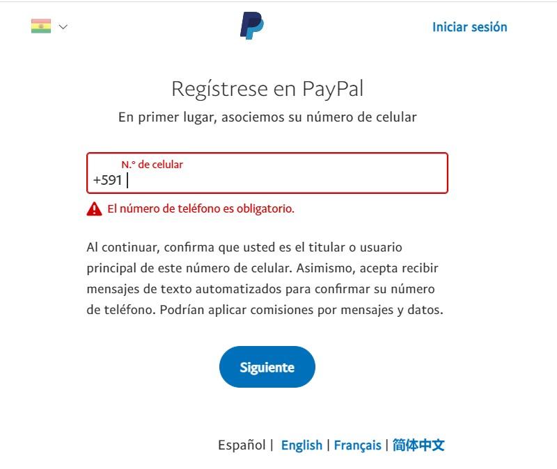 Crear cuenta de PayPal en Bolivia 3