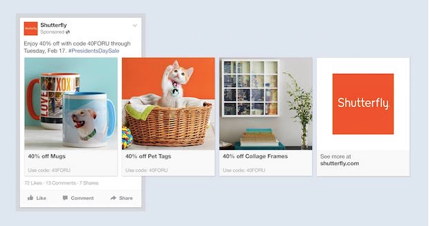 Ejemplode anuncios de productos de FAcebook