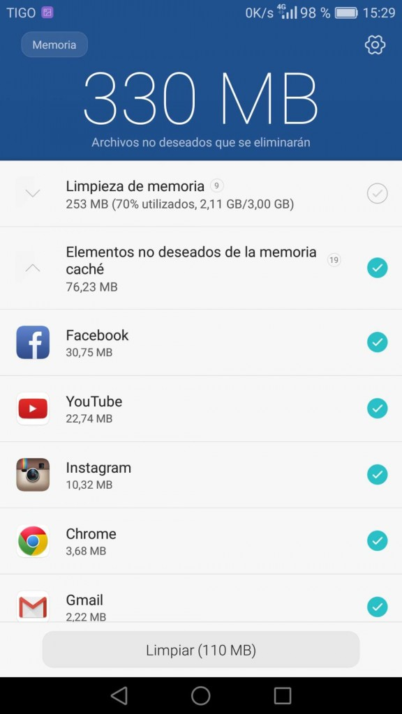 Mate 8 optimizador de memoria