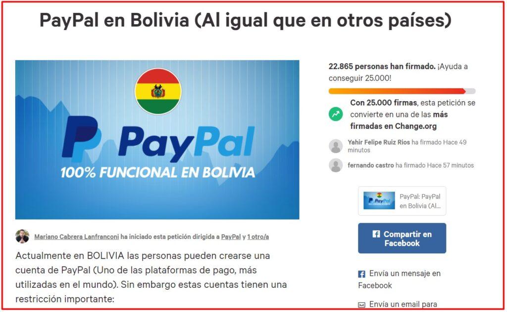 Petición de PayPal en Bolivia