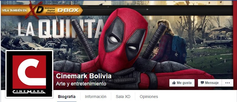 Portada DeadPool Cinemark Bolivia