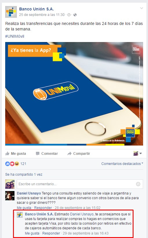 aumentar las interacciones en facebook banco union