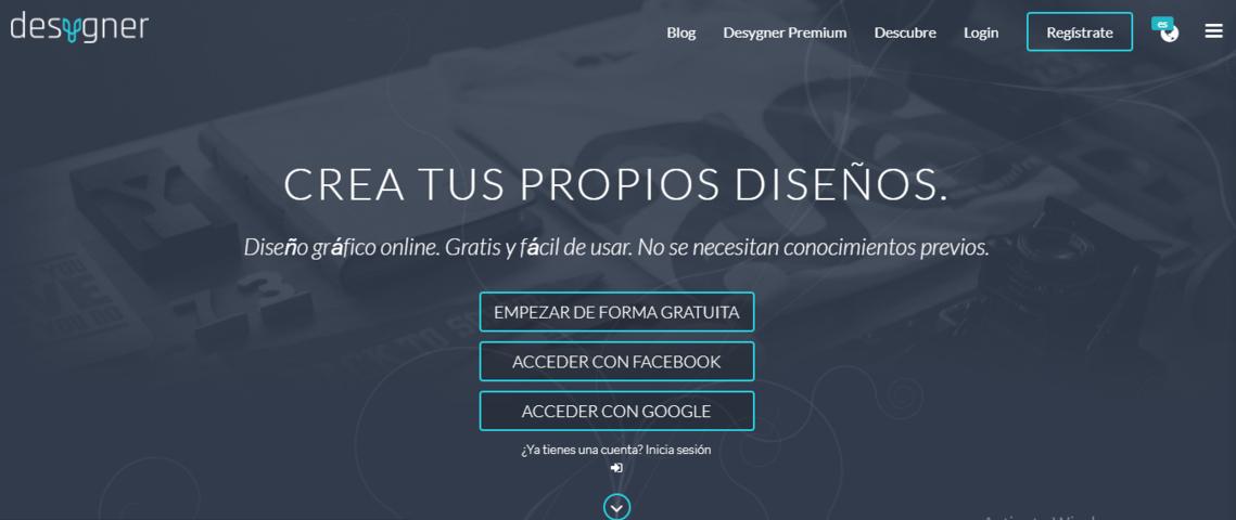 Editor Online Desygner crear cuenta