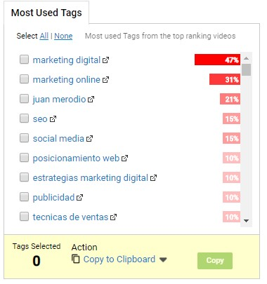 crecer en youtube - tubebuddy most used tags