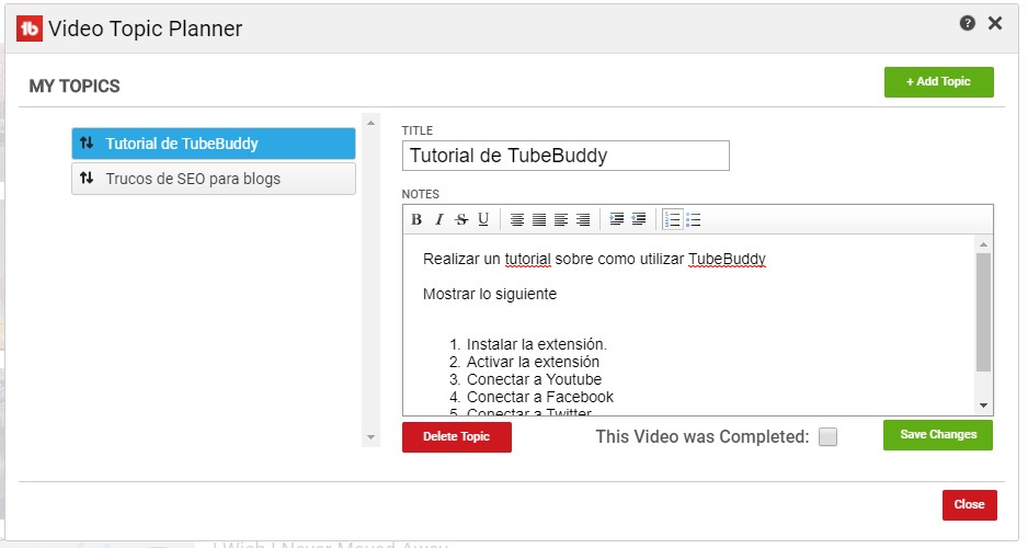 crecer en youtube - tubebuddy topic planner