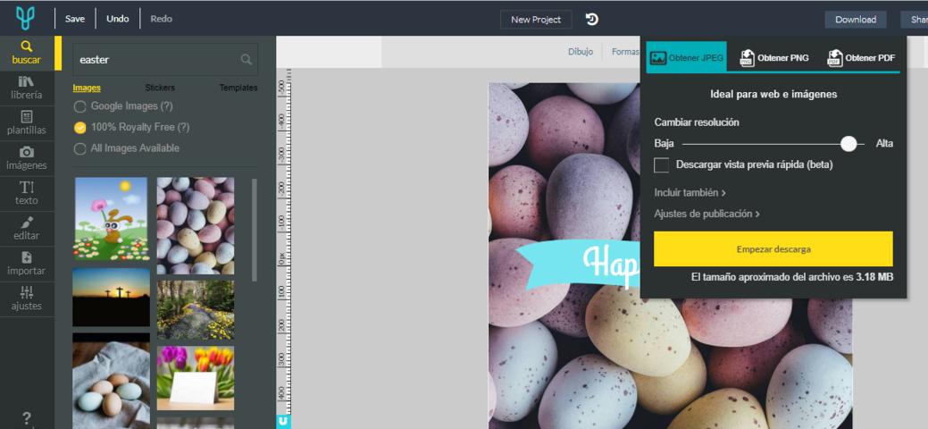 Editor Online Desygner descargar en diferente calidad